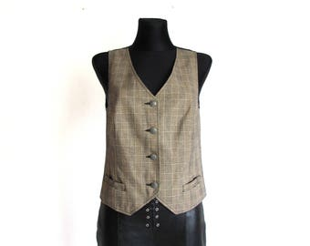 Vintage Women's  Lurex Beige Brown Checkered Formal Waistcoat Vest  Metal Buttons Size S
