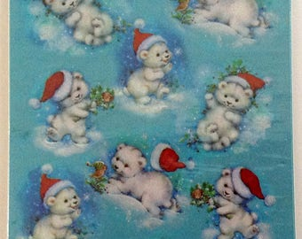 Forget Me Not Holiday Stickers White Bears Stocking Cap American Greetings 4 Sheets NIP