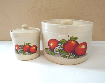 Apple Crock Stoneware Canisters Containers 2 Piece Set