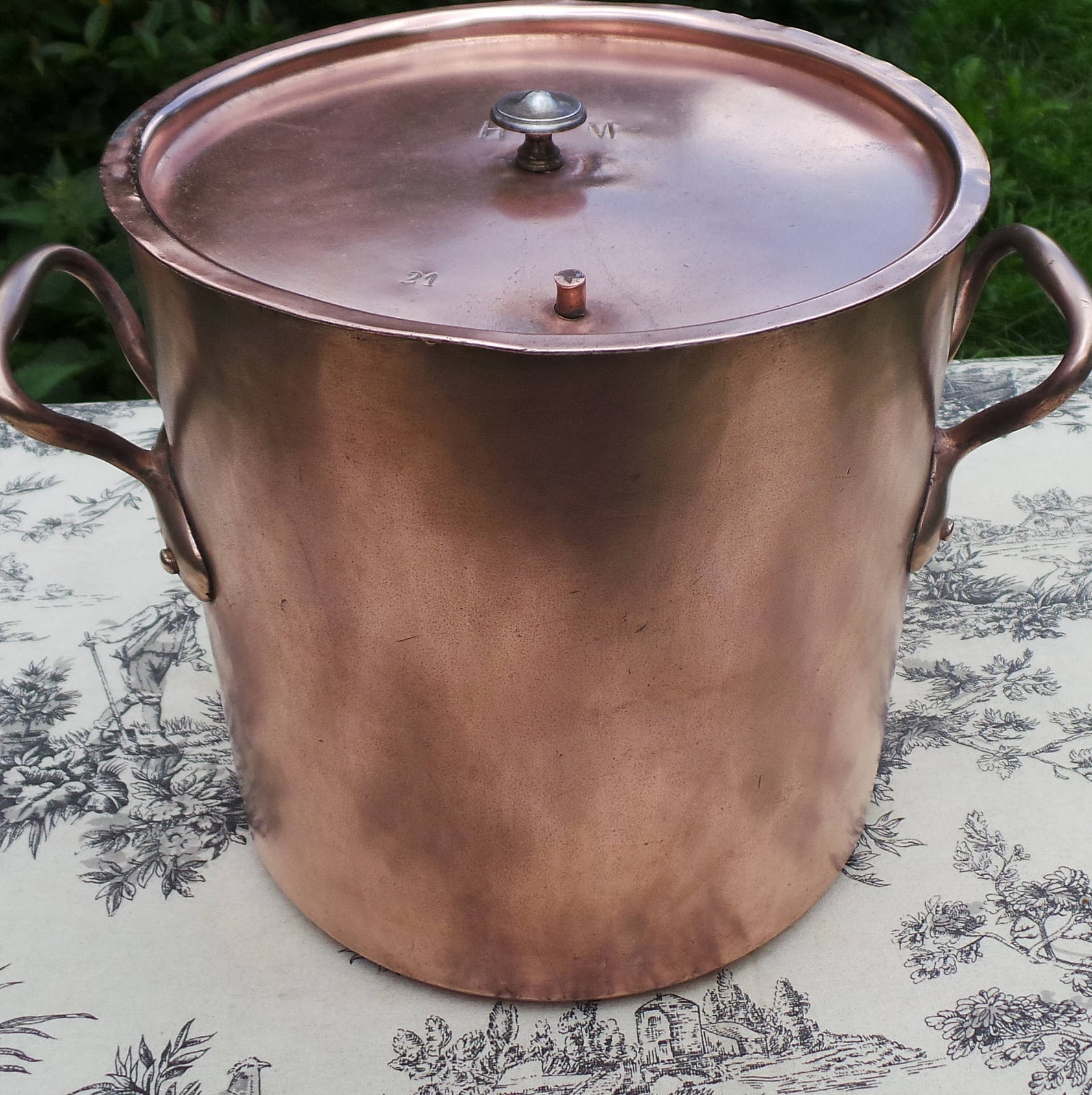 Vicky French Antique Copper Stock Pot Marmite Faitout Pan Very Old Very Loved All Solid Copper