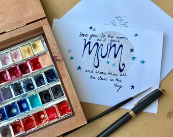 The Moon and The Stars Personalised Hand Painted Mother's Day Card