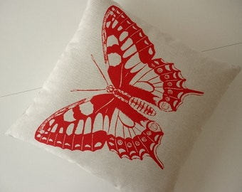 Giant Vintage Butterfly silk screened cotton canvas throw pillow 18 inch RED MAGENTA