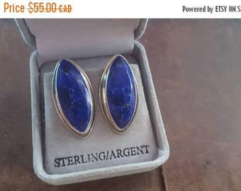 ON SALE Vintage Sterling Silver and Stone Earrings