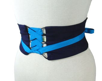 Navy Blue Obi Belt / Corset Belt / Narrow Waist Cincher / Any Color / Blue Corset / Blue Wedding Sash / Bridesmaid Belt / Blue Obi
