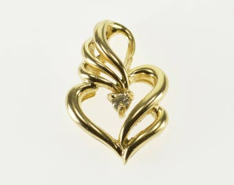 10k Diamond Inset Wavy Curvy Heart Pendant Gold