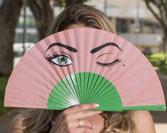 HAND FAN | Pop Art design with winking eye | green and red | summer fashion accessories | unique gift for her | Free Shipping Worldwide