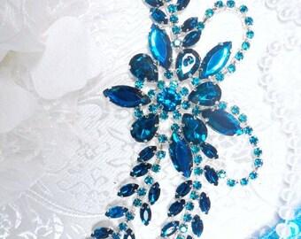 """XR127 Turquoise Crystal Rhinestone Applique """"Bryanna"""" Embellishment 7.5"""" ( XR127-tr)"""