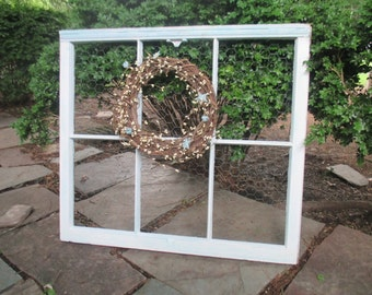 """Country Style Turquoise/White Embellished Vintage Window 30 1/2"""" X 27 1/4"""""""