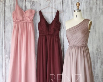 Mix & Match Bridesmaid Dress,One Shoulder Rose Gray Prom Dress,V Neck Wine Chiffon Maxi Dress,Ruched A-line Wedding Dress(H219B/H217C/H218B)