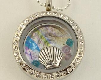 Memory Floating Charm Locket Necklace - Seashell