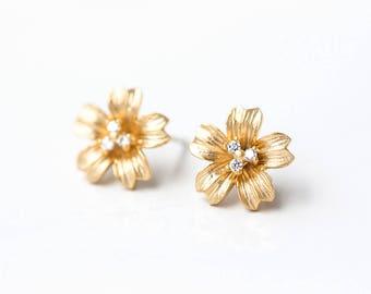 2628 Gold flower studs 12 mm Cubic zirconia CZ studs Earring posts Clip earrings Gold plated stud earrings Post earrings findings 1 pair