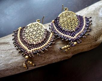 Flower of Life Macrame Brass Earrings | Brown, Purple Sacred Geometry | Bohemian Chic