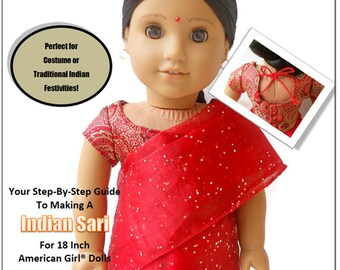 Pixie Faire Miche Designs Indian Sari Doll Clothes Pattern for 18 inch American Girl Dolls - PDF
