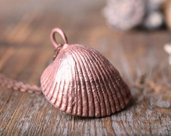 sea shell necklace statement beach ocean necklace shell jewelry boho copper necklace shell pendant gift for women electroplating