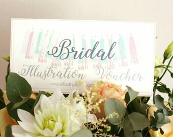 Custom Bridal illustration - A4 Print + Digital Copy / Gift Voucher/ unframed / Gift /  Wedding / Present / bridesmaid gift / Personalised