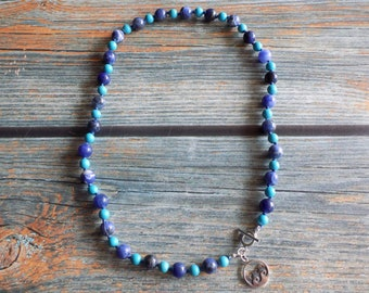 """19"""" Waves Of Calm Gemstone Necklace Knotted on Nylon with Sterling Silver Findings, Healing Crystals, Infused with Intention"""
