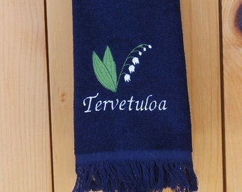 Scandinavian Finnish Tervetuloa Lily of the Valley Embroidered Towel (#13)