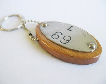Tags keychain little morsel of recycled oak wine barrel top with barrel metal identification tag