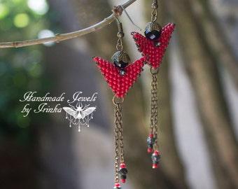 Earrings, beadwork, red, black and bronze