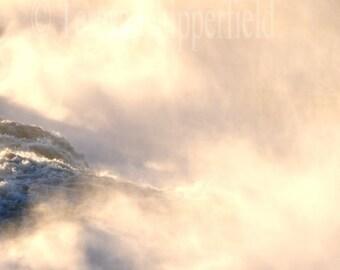Waterfall Print, Willamette Falls Sunset Photo, Sapphire Blue Water Photo,Deep Blue Water Print,Spray,Mist,Haze,Water Home Decor, 8x10,16x20