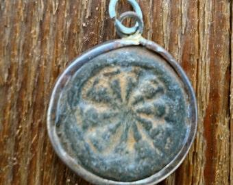 Rustic  Dharma Wheel Pendant - 7/8 Inch - 22 mm