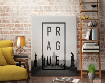 Black and White Typography Print, Black White Home Decor, Prague Printable, Prague City Print, Prague Poster, Prague Wall Art, Prague Art