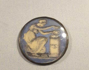 18th Century French painting underglass button.