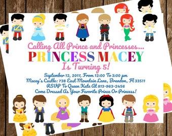 Disney Prince and Princess Birthday Party Invitation Download - Disney Prince and Princess Invitation - 5 x7 - Print