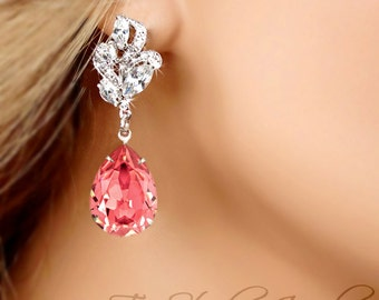 Rose Peach Bridesmaid Earrings - Swarovski Pear Shaped Stones available in other colors