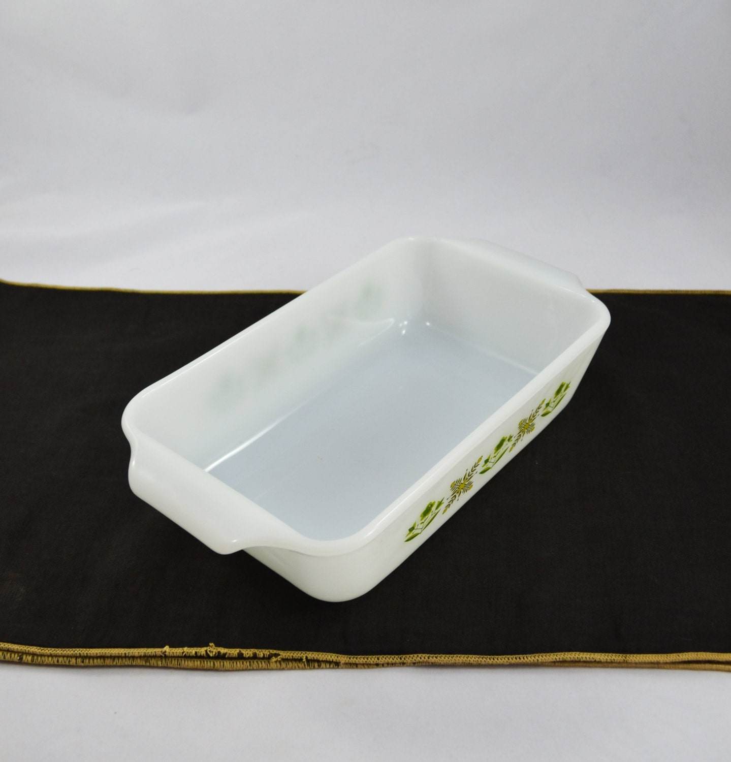 Vintage Anchor Hocking Fire King Milk Glass Loaf Pan In The Meadow ...