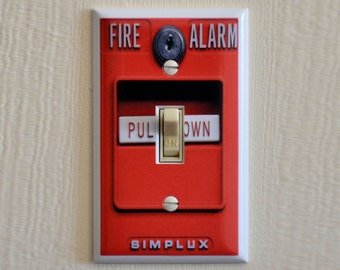 FIRE ALARM Switch Plate - Wall Plate Cover - mancave gag gift funny light