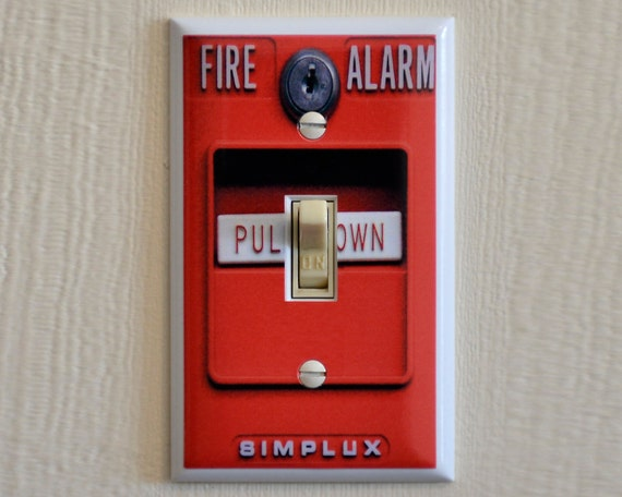 Man Cave Gag Gifts : Fire alarm switch plate wall cover mancave gag gift