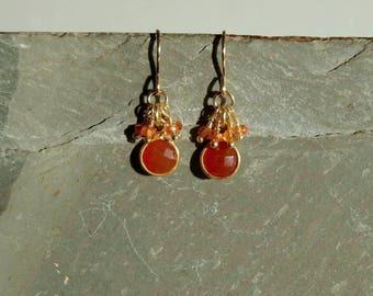 Carnelian Sapphire Earrings, real orange sapphires, round red orange carnelian, cluster earrings, gold, carnelian sapphire jewelry