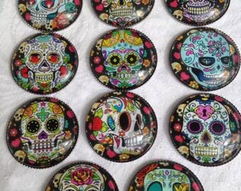 Sugar Skull Magnets Teacher Gift | Housewarming Gift | Party Favor | Stocking Stuffer | Office Gift | Day of the Dead Magnet