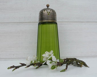 French Vintage Green Glass Sugar Shaker. Vintage Condiments. Vintage Tableware. Vintage Dining. French Dining. Vintage Tableware