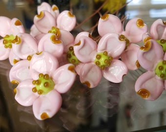 Dogwood Flower Pink ~ Glass Lampwork Flower Headpins ~ Copper Wire