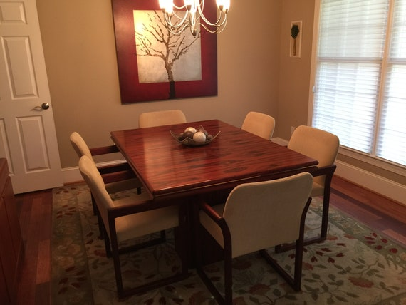Teak Rosewood Dining Room Table And Chairs Hutch