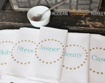 Custom set of 6 Dinner Napkins Monogrammed napkins Personalized cloth napkins by Modern Vintage Market