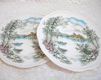 Alfred Meakin - Queens Castle - Staffordshire - English Stoneware - Dinner Plates - Transferware