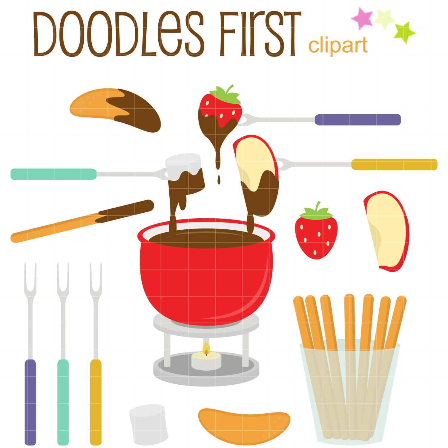 Chocolate Fondue Party Clip Art for Scrapbooking Card Making