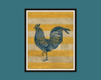 ROOSTER Art Print, FARM Wall Art, KITCHEN Wall Decor, Rustic Country Art