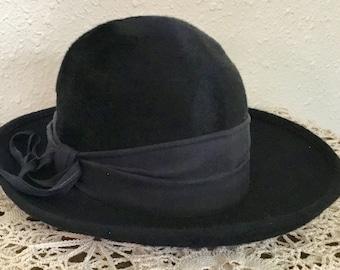 80's Vintage Navy Blue Fur Felt Hat