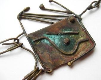 Vintage 50s Abstract Mid Century Modernist Freeform Bronze Pendant Necklace
