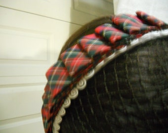 Hairnet with Red Plaid Ribbon and Black Rosette, Civil War Victorian, Costume, Fashion, New