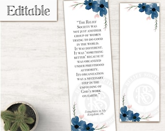 Relief Society Bookmark, Editable PDF, LDS Relief Society Digital Printable, Editable file, Relief Society gift