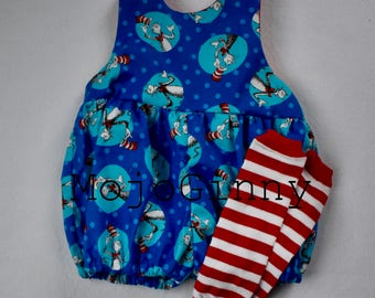 Seus Cat in the Hat Bubble Romper with leg warmers birthday party smash cake back to school cotton blue red sleeveless sundress Dr Seus