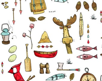 Camping Moose Fabric by the Yard Childrens Fabric Cotton minky jersey knit nursery fabric woodland baby fabric quilting 3649613