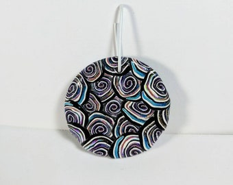 Round Pendant, Spiral Cane Pendant, Multicolored Pendant, Polymer Clay Pendant, Jewelry Supplies, Circles