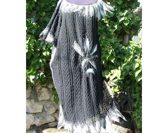 Felt Lace Dress,Felt Tunic,Brussels Lace Black Dress,European Design, Lace Felt Dress,Merino Wool Felt Black Dress,Art Deco,Woman Gift