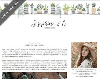Blogger Template - Mobile Responsive & Dropdown Menu - Watercolor Design Blog - INSTANT DOWNLOAD - Josephine and Co. Theme